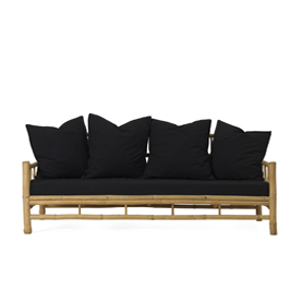 Bamboo Sofa with black pillows