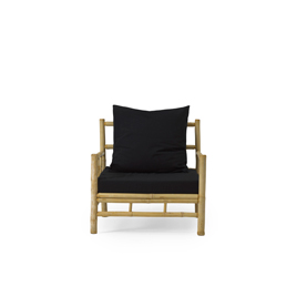 Bamboo Lounge chair with black pillows