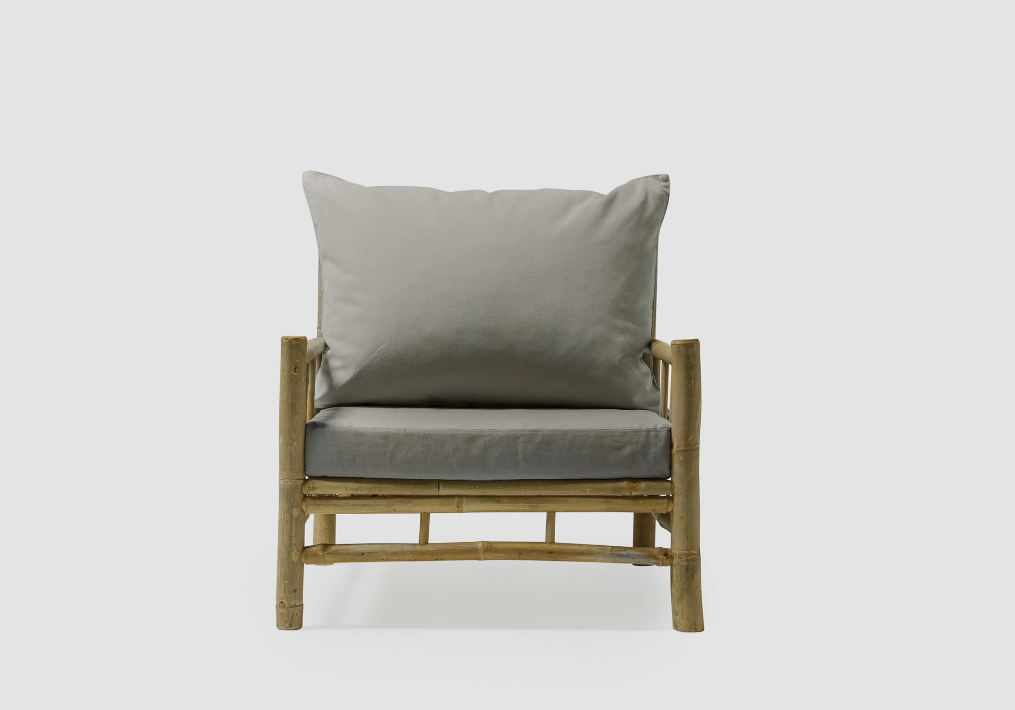 Bamboo Lounge Chair With Gray Pillows