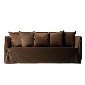 Selini round sofa taupe velvet